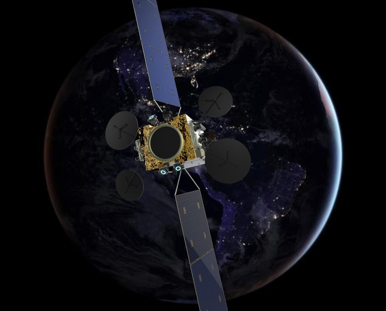 Ilustración del satélite ARSAT SG 1 que orbita en el espacio. Tiene cuatro antenas y dos paneles solares.