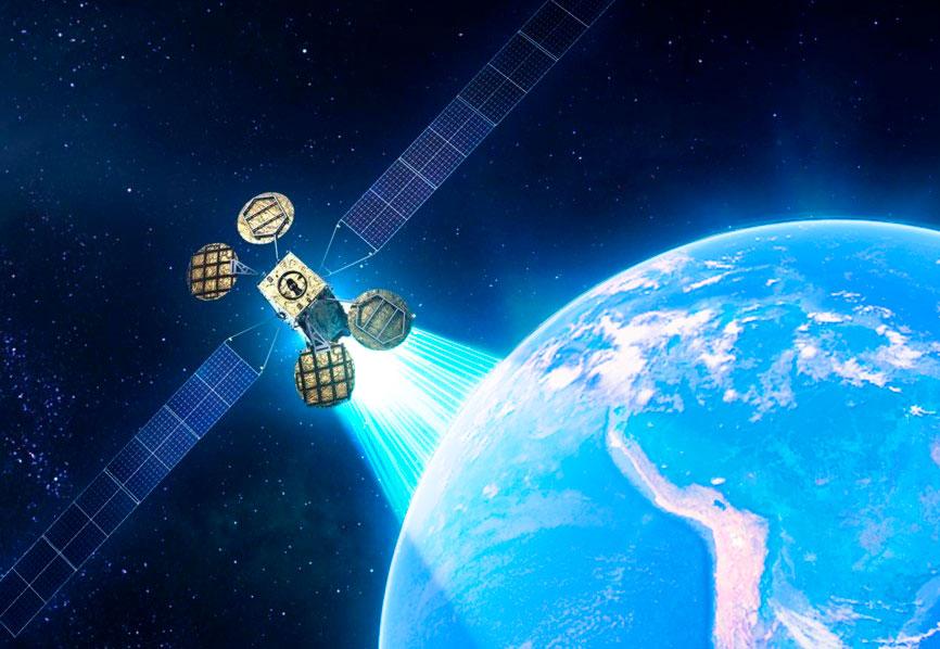 Ilustración del satélite ARSAT SG 1 con sus cuatro antenas, orbitando en el espacio y alumbrando la cobertura en Argentina y países limítrofes.