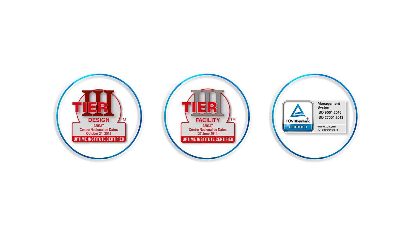 Tres logos que muestran las certificaciones TIER tres de Diseño, TIER tres de Construcción, ISO 9001, ISO 27001.
