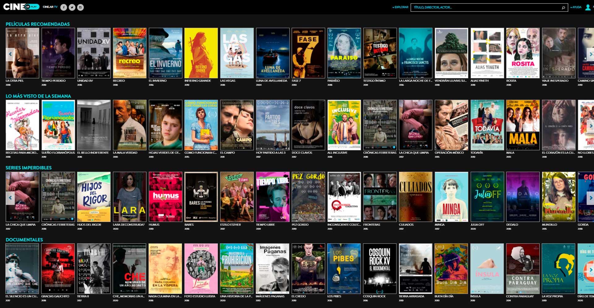 Pantalla principal de Cinear Play con opciones de series, películas, documentales y recomendaciones nacionales.