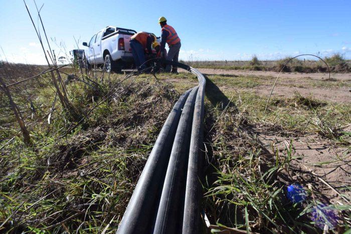 Dos técnicos desde la caja de una camioneta despliegan un largo cable tritubo.