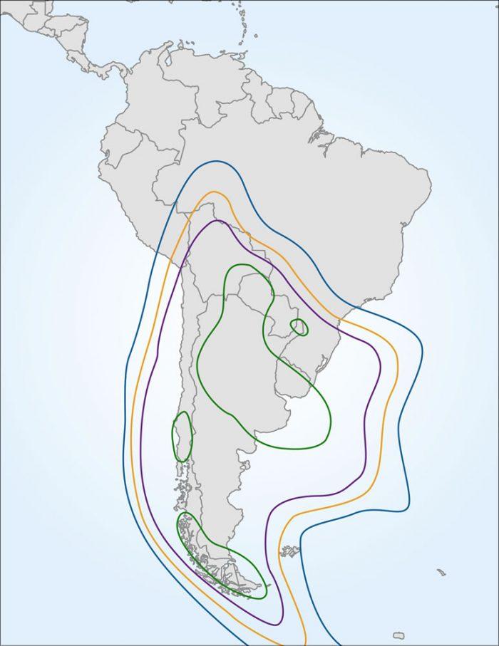 Ilustración de mapa global, que marca la cobertura del satélite ARSAT 1, en Argentina y países limítrofes.