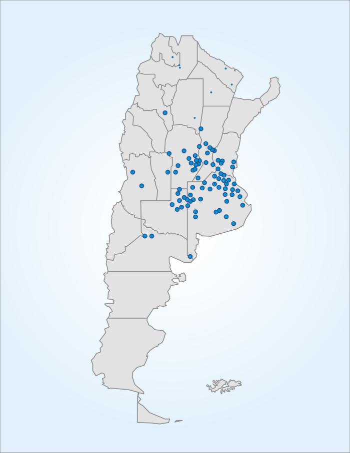 Mapa de la Argentina con la cobertura de puntos IoT